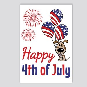 Happy 4th Doggy with Ball Postcards (Package of 8)
