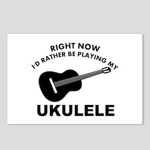 Ukulele silhouette designs Postcards (Package of 8