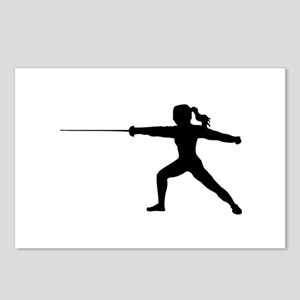 Girl Fencer Lunging Postcards (Package of 8)