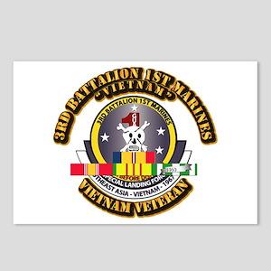 SSI - 3rd Bn - 1st Marines w VN SVC Ribbon Postcar