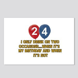 24 year old birthday designs Postcards (Package of