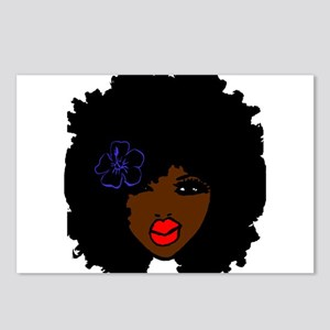 BrownSkin Curly Afro Natu Postcards (Package of 8)