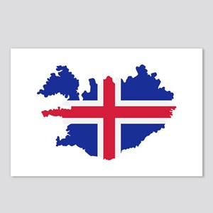 Iceland map flag Postcards (Package of 8)
