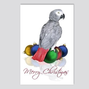 african grey christmas Postcards (Package of 8)