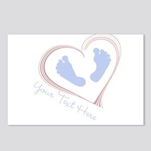 Your Text Here Baby Feet in Heart Postcards (Packa