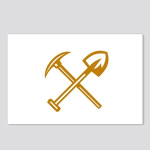 Pick Axe Shovel Crossed Retro Postcards (Package o