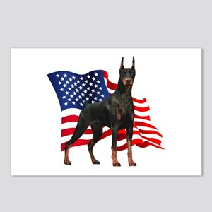 American Flag Doberman Postcards (Package of 8)