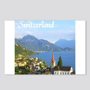 Switzerland view over lake Postcards (Package of 8
