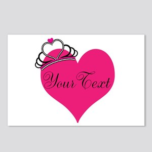 Personalizable Pink Heart with Crown Postcards (Pa