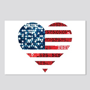 usa flag heart Postcards (Package of 8)