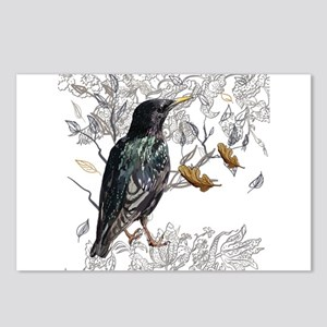 Leaves birds background s Postcards (Package of 8)