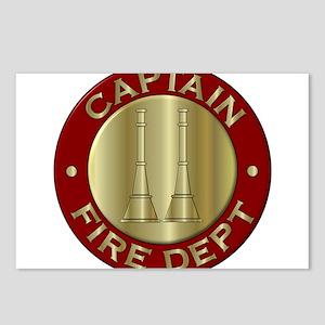 Fire captain emblem bugle Postcards (Package of 8)