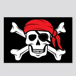 Jolly Roger Pirate (on Bl Postcards (Package of 8)