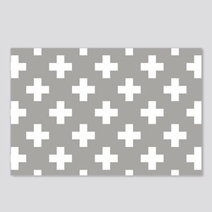 Grey Plus Sign Pattern Postcards (Package of 8)