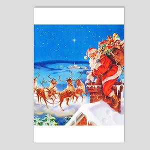Santa and His Reindeer Up Postcards (Package of 8)