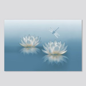 Blue Lotus and Dragonfly Postcards (Package of 8)