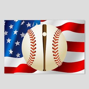 Baseball Ball On American Flag Postcards (Package