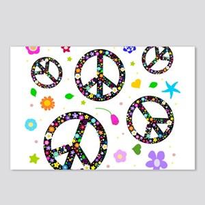 Peace symbols and flowers pat Postcards (Package o