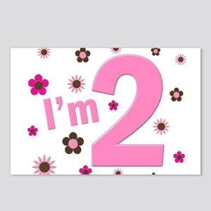 """""""I'm 2"""" Pink & Brown Flowers Postcards (Package of"""
