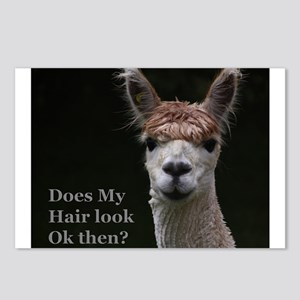 Alpaca with funny hairsty Postcards (Package of 8)
