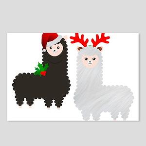 christmas reindeer alpaca Postcards (Package of 8)