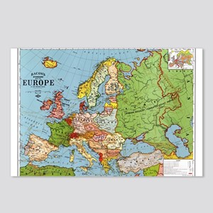 Map of Europe Postcards (Package of 8)