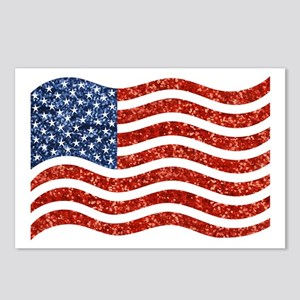 sequin american flag Postcards (Package of 8)