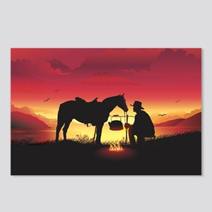 Cowboy and Horse at Sunse Postcards (Package of 8)