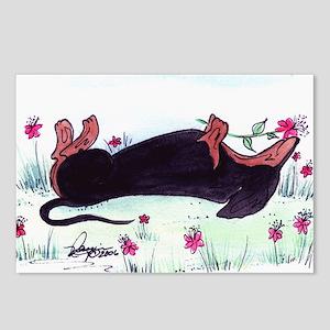Dachshund enjoying flower Postcards (Package of 8)