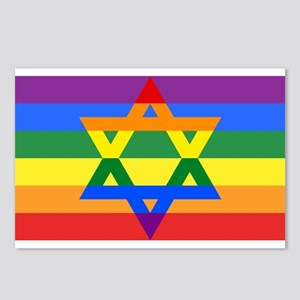 Rainbow Star of David Postcards (Package of 8)