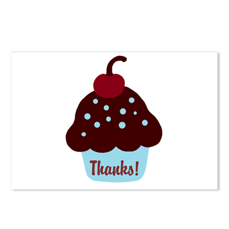 Blue and Brown Cupcake Thank Postcards (Package of