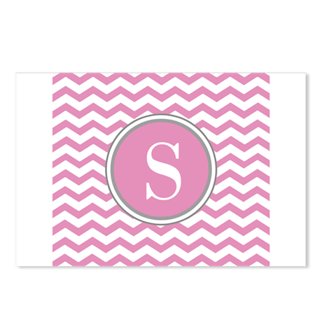 Any Letter, Pink White Gray Chevron Monogram Postc