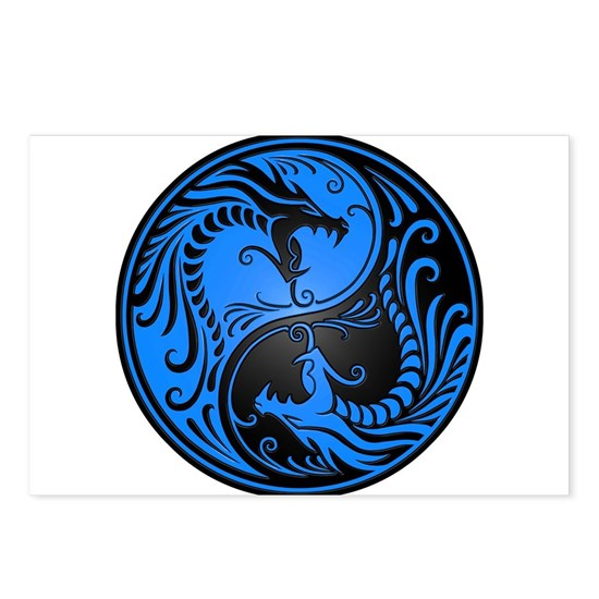 Blue and Black Yin Yang Dragons