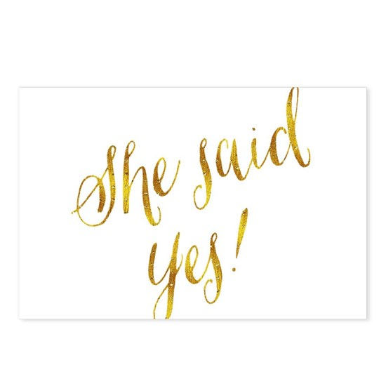 She Said Yes Gold Faux Foil Metallic Glitter Quote