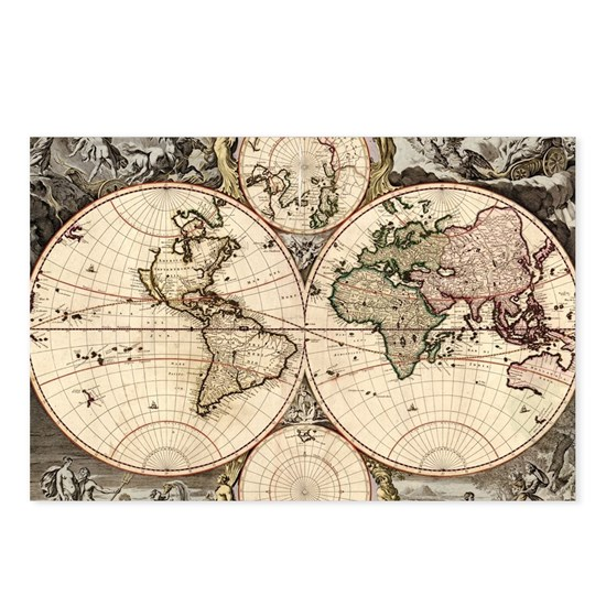 Vintage Map of The World (1690)
