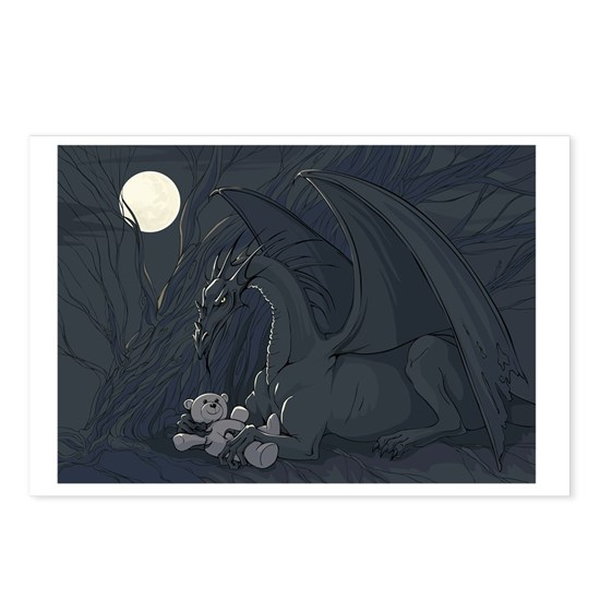 Dragon with teddy in moon light