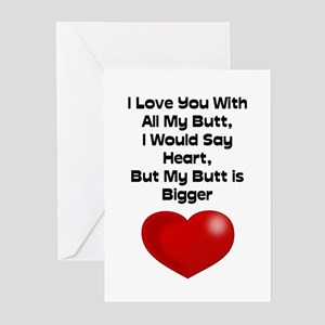 Funny Quote Love You With All My Greeting Cards