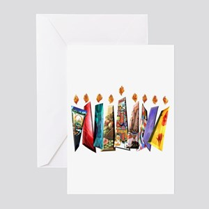 Fabric Chanukah Menorah Greeting Cards (Pk of 10)