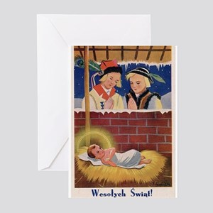 Vintage Polish Christmas Retro Art Greeting Cards