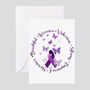 Purple Ribbon with Empow Greeting Cards (Pk of 10)