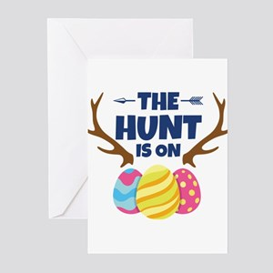 Funny Easter Egg Hunting with Antle Greeting Cards