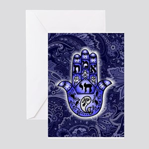 Blue Paisley Hamsa Hand Symbol Greeting Cards
