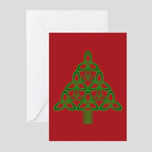Triskele Tree (red) Greeting Cards (Pk of 10)