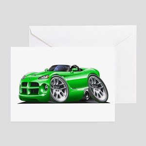 Viper Roadster Green Car Greeting Cards (Pk of 10)