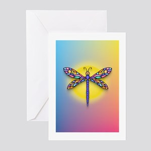 Dragonfly1-Sun-gr1 Greeting Cards (Pk of 10)