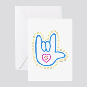 Blue Dotty Love Hand Greeting Cards (Pk of 10)
