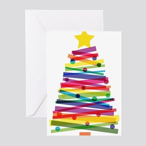 Colorful Christmas Tree Greeting Cards
