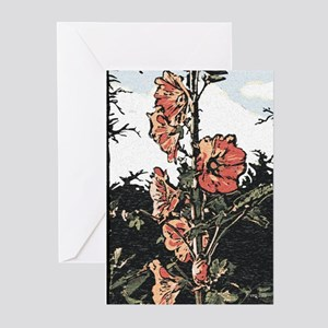 Hollyhock Art Card (pk Of 10) Greeting Cards