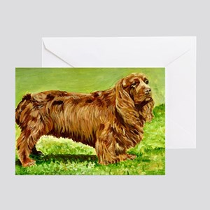 Sussex Spaniel Dog Portrait Greeting Cards