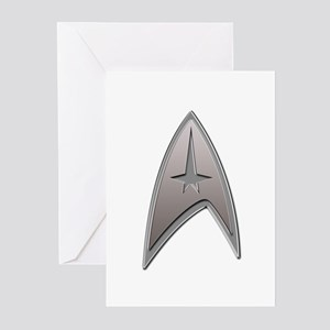 STAR TREK Silver Metallic Insignia Greeting Cards